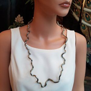 Silver Metal Bendable Modern Coil Necklace